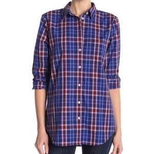 J Crew blue long sleeve Plaid Relaxed Shirt 8905